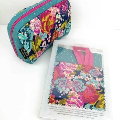Kit para realizar un neceser con tela de flores, cremallera y forro impermeable