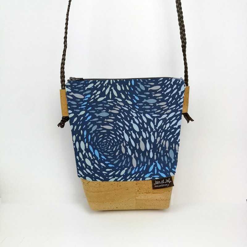 Bolso Gaia con tela azul de peces de Jan et Jul
