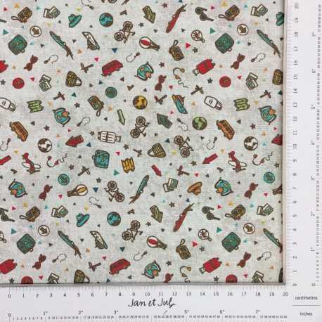 Tela de algodón de temática de viajes diseñada por Jan et Jul