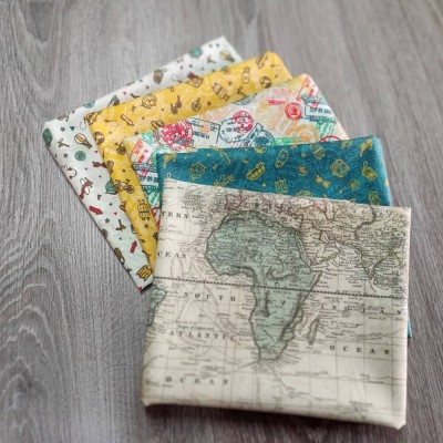 combinación de telas de algodón de temática de viajes diseñada por Jan et Jul