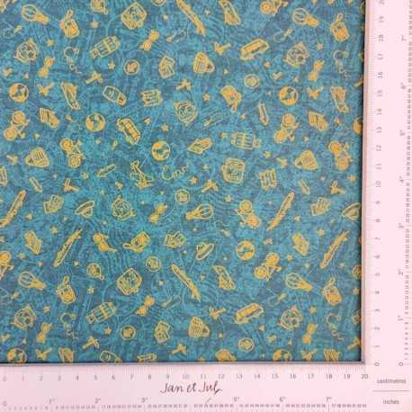 Tela de algodón con dibujos de viajes en verde diseñada por Jan et Jul
