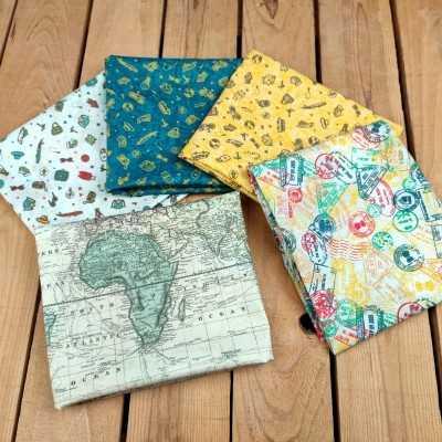 Combinación de telas de algodón con sellos de viajes diseñada por Jan et Jul