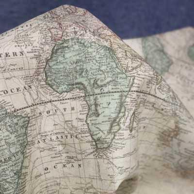 Tela de mapas de algodón diseñada por Jan et Jul de estilo vintage