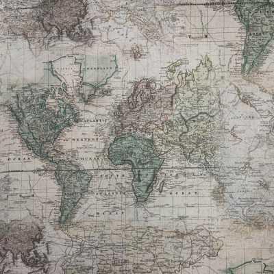 Tela de mapas de algodón diseñada por Jan et Jul en tonos tostados