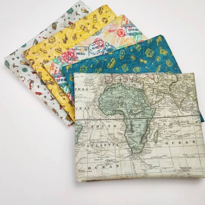 Combinación de telas de mapas de algodón diseñada por Jan et Jul