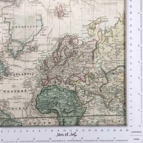 Tela de mapas de algodón diseñada por Jan et Jul