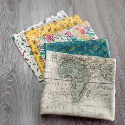 Combinación de telas de viajes diseñadas por Jan et Jul en tonos tostados