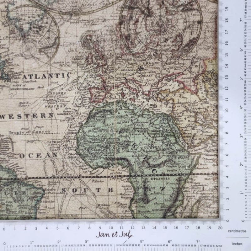 Loneta de algodón de 300gr. con dibujos de mapa de estilo vintage diseñada por Jan et Jul