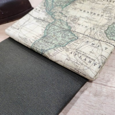 loneta con dibujos de mapas vintage