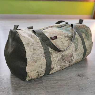 Bolsa de Jan et Jul con loneta de mapas y loneta verde militar de 300gr