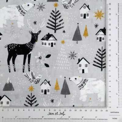 Tela gris de algodón americano con dibujos de navidad en blanco, negro y dorado.