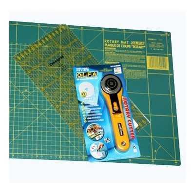 "base de corte 30x45cm., cutter 45"" y regla de 10x30cm."