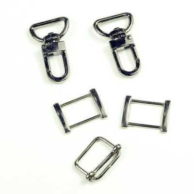 Pack cierres de metal 20mm rectangular niquel
