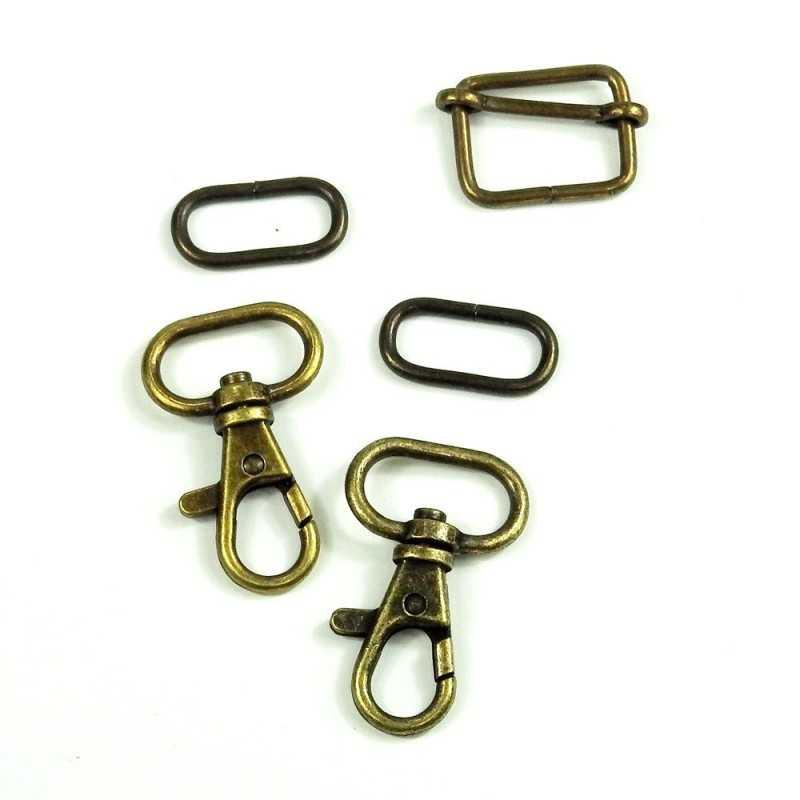 Pack cierres de metal oval 20mm oro viejo