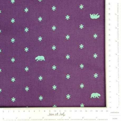 Tela morada con osos y estrellas en turquesa