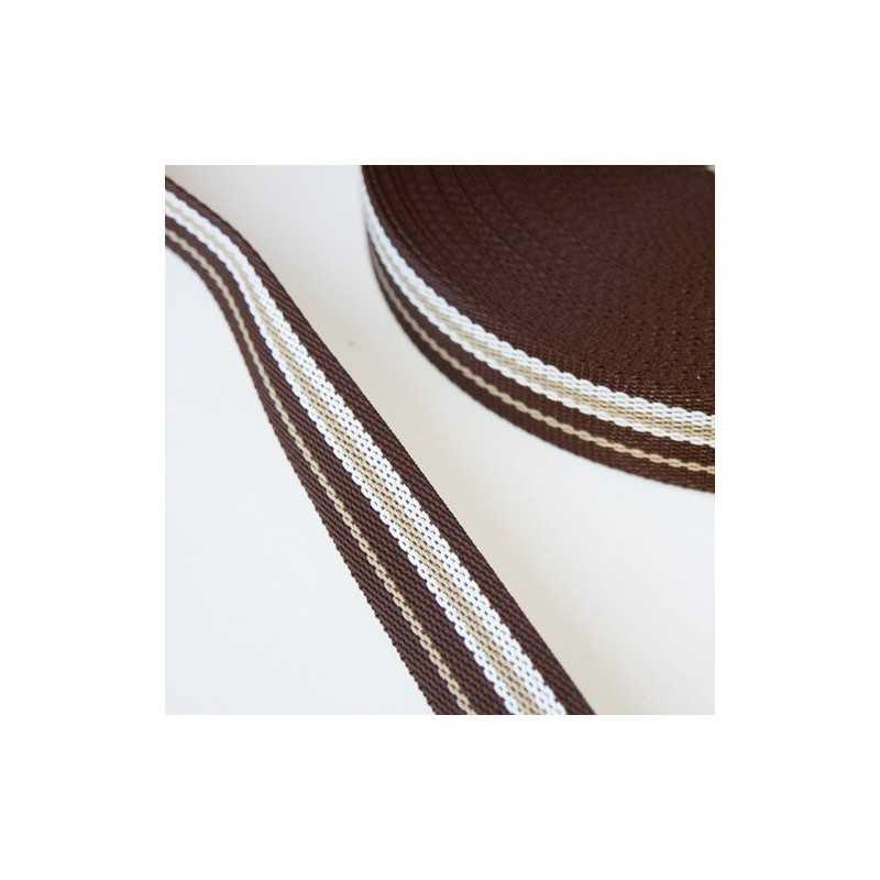 cinta nylon marron y blanco