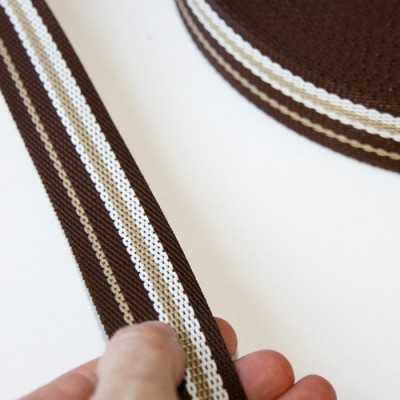 cinta nylon blanca y marron de 3cm