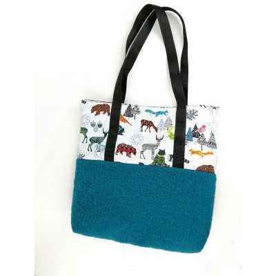 Práctico bolso con tela y tela de lana