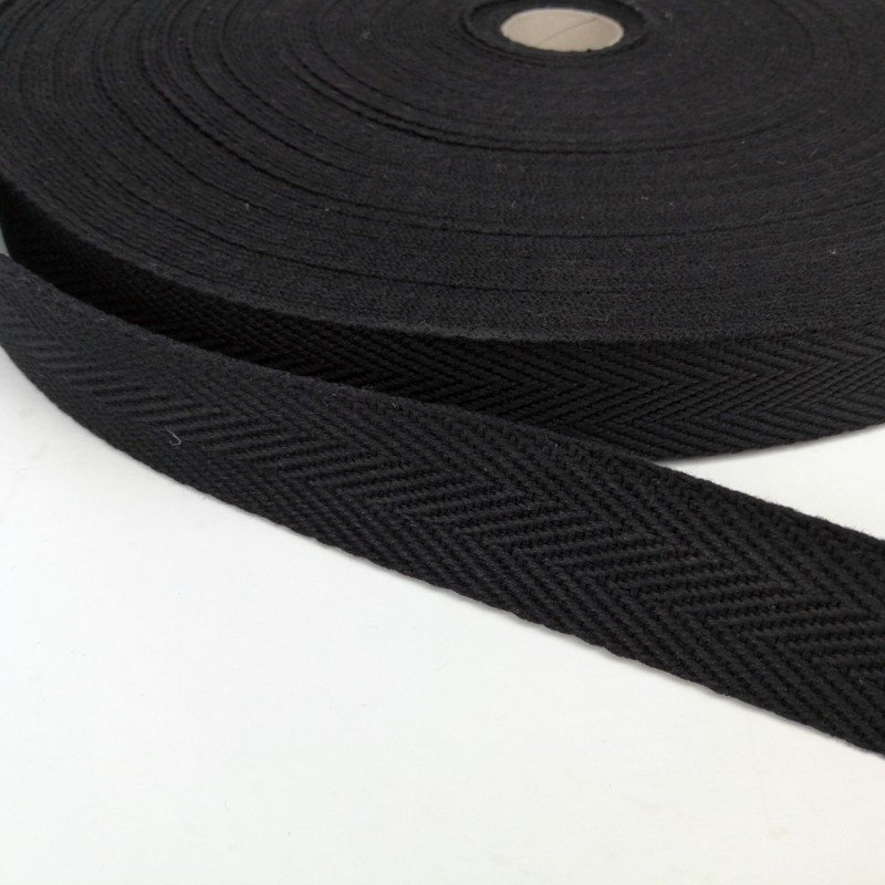 Cinta de algodón con dibujo de espiga de 30mm. negra