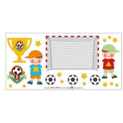 Aplicación termoadhesiva con niños jugando a futbol
