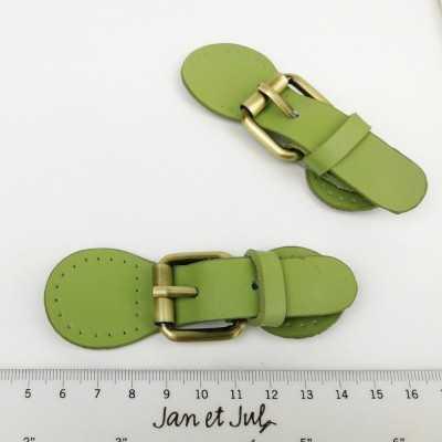 Cierres de piel con imán de color verde