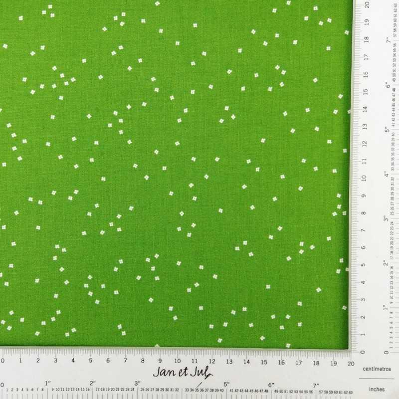 Tela verde con flores mini