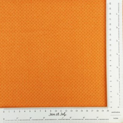 Tela naranja con cruces mini