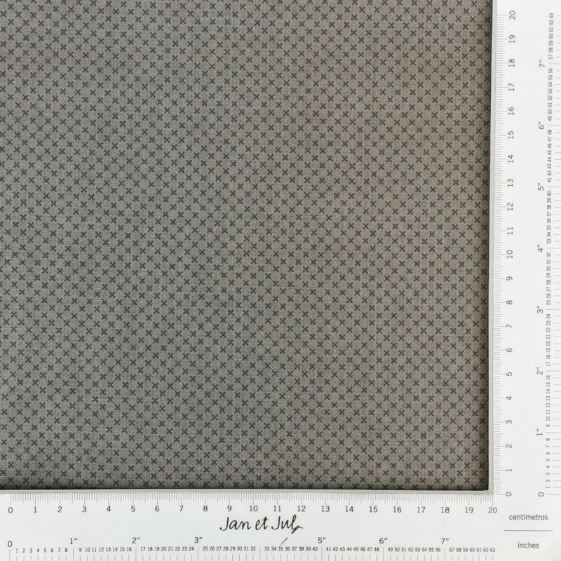 Tela gris taupe con cruces mini