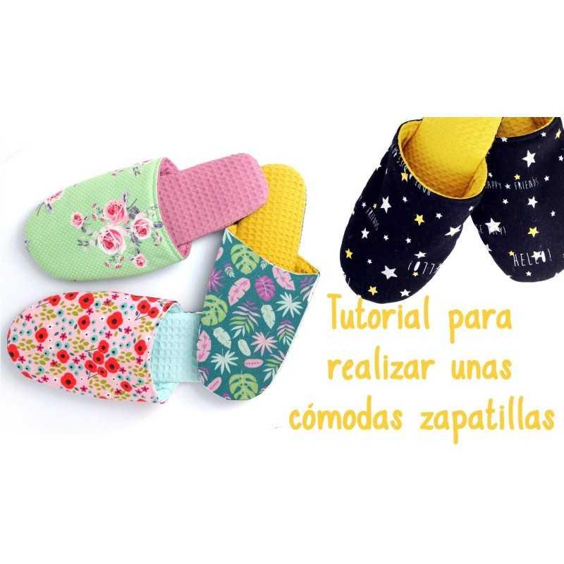 Tutorial para aprender a coser zapatillas de tela para casa o de viaje con suela antideslizante