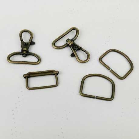 Pack cierres de metal 30mm D oro viejo