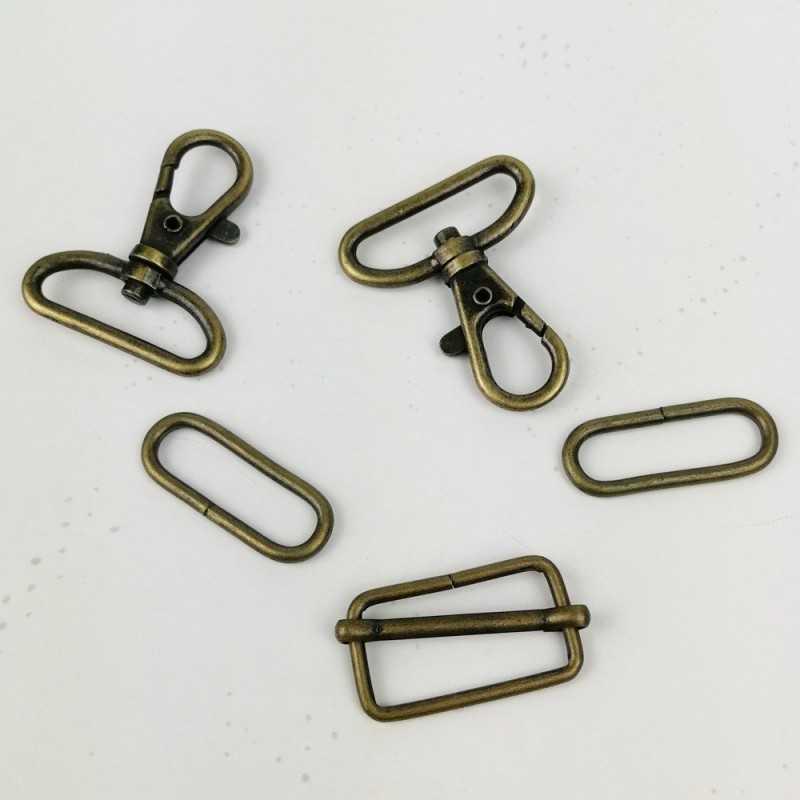 Pack cierres de metal 30mm ovalado oro viejo