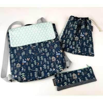 patrón descargable de mochila, bolsa multiusos y estuche