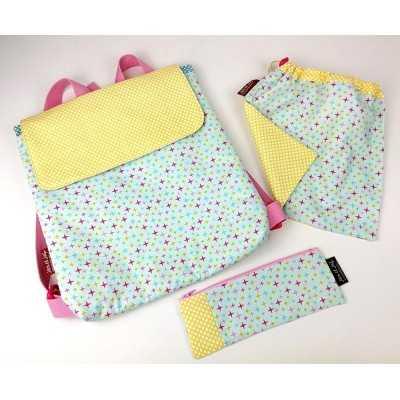 patrón digital de mochila, bolsa multiusos y estuche