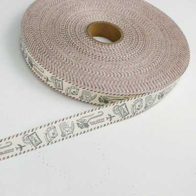 cinta de algodón de 20mm con dibujos de elementos para viajar