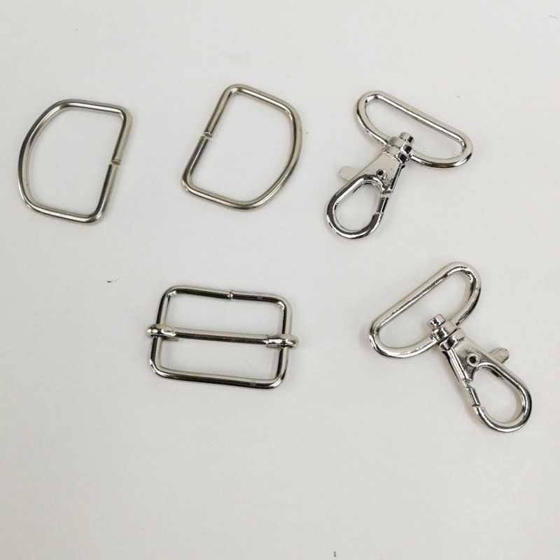 Pack cierres de metal 30mm D en color plata