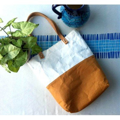 bolso diy combinando kraft text blanco y marrón
