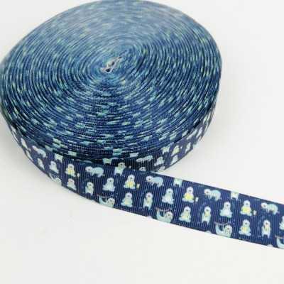 Cinta grossgrain azul con perezosos