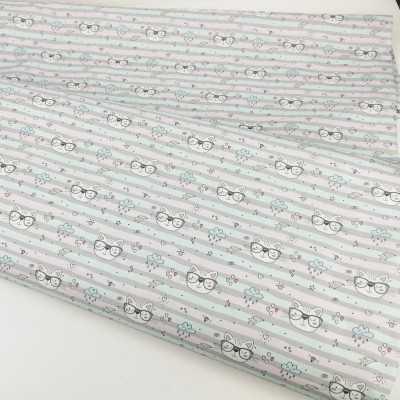 Tela de algodón con gatos rosa y gris