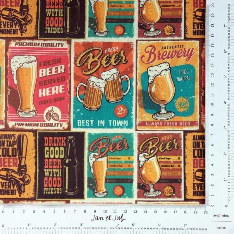 Tela con dibujos de cervezas