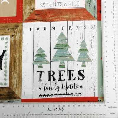 Tela navideña con diferentes dibujos