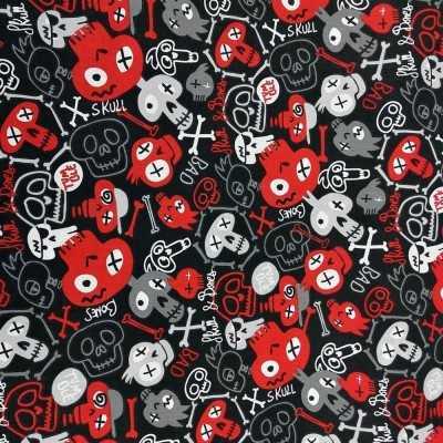 Tela con calaveras en negro, rojo, blanco y gris