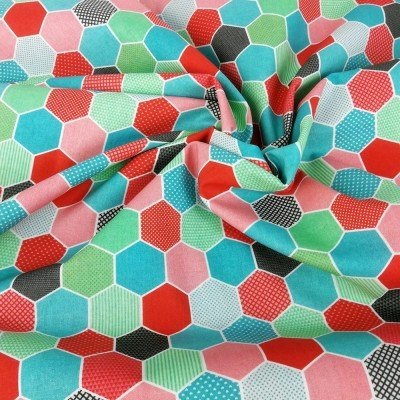 Tela multicolor de algodón con hexágonos diseñada por Jan et Jul