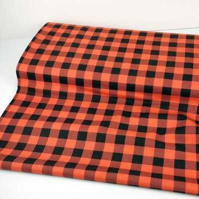 Tela roja y negra de algodón con cuadros tipo leñador