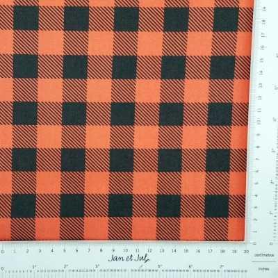 Tela algodón a cuadros rojo y negro