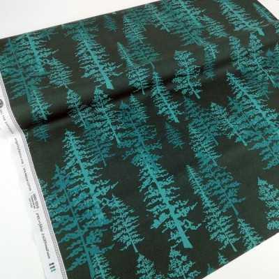 Tela de algodón verde con abetos espectaculares