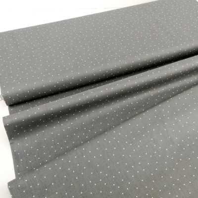 Tela algodón gris con topitos mini en blanco