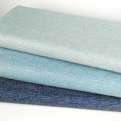 Combincación de telas en azul