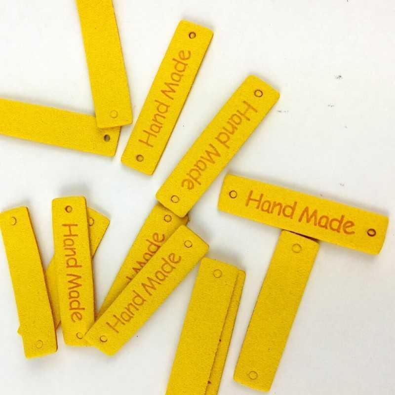 Etiquetas de piel de color amarillo para proyectos diy