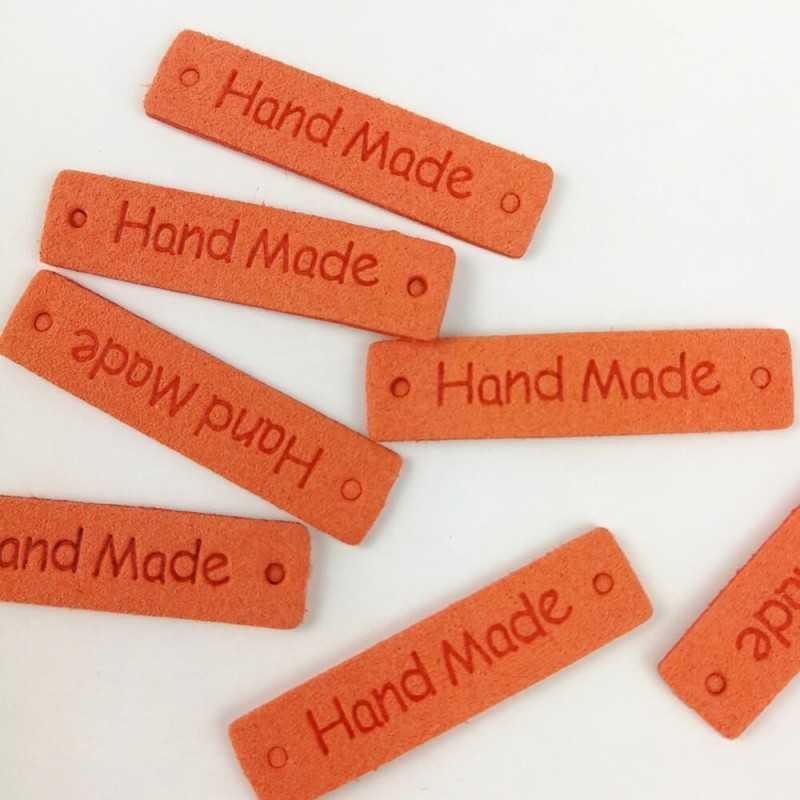 Etiquetas de piel de color naranja para proyectos diy