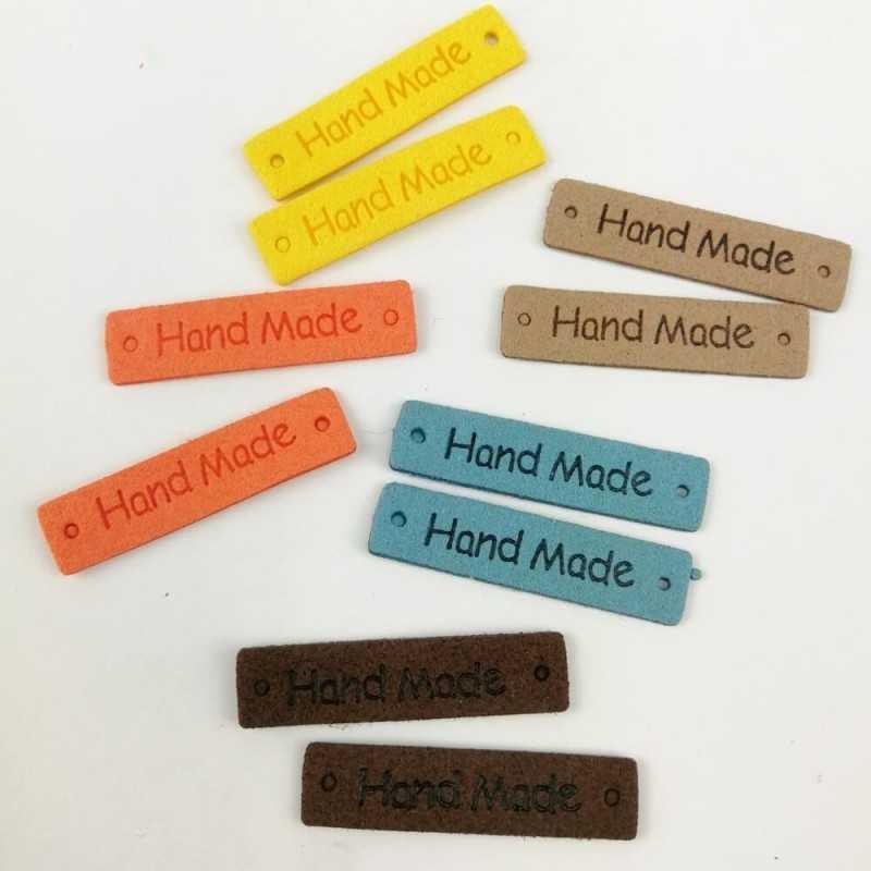 Etiquetas de piel Handmade de colores